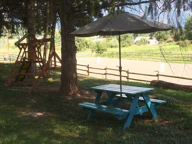 Airbnb guests can hold family events around our picnic bench.
