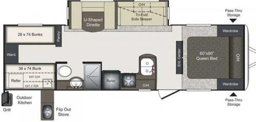 Laredo 291TG travel trailer plan